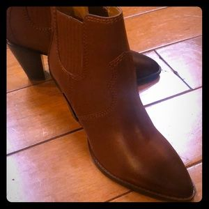 Coach booties tan with heel.